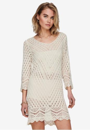 JACQUELINE DE YONG white and grey SUN 3/4 DRESS 32F8AAA86FE642GS_1