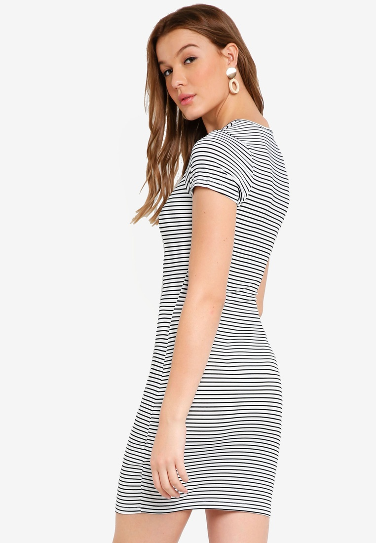 BASICS ZALORA Sleeves Basic White Dress 2 with Bodycon Black Stripe Black Short pack wnqH4TB0A