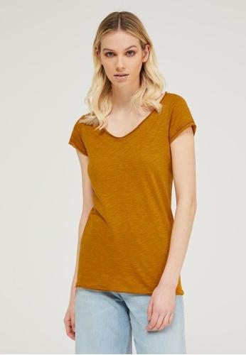 Sisley yellow V-neck T-shirt EA364AA57FECB8GS_1