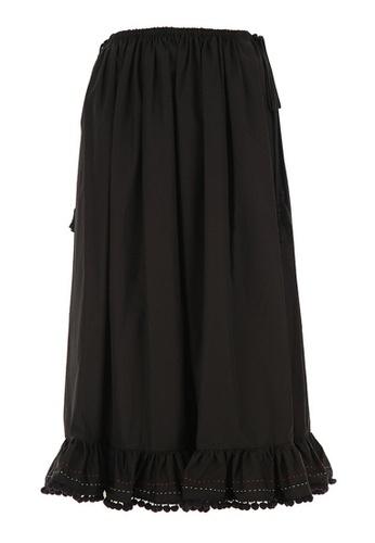 MIU MIU 黑色 Miu Miu Ruffle Hem 半身長裙(黑色) B36D1AABCE914DGS_1