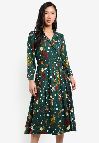 Mango green Printed Wrap Dress MA193AA0S36TMY_1