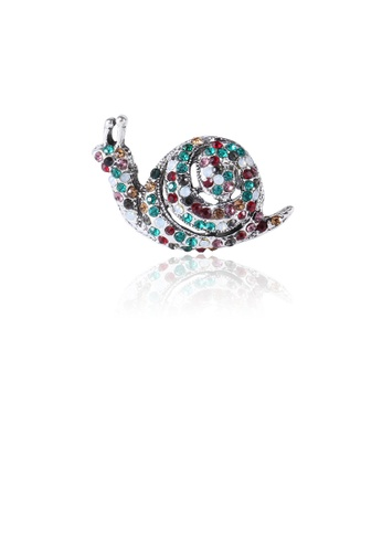 Glamorousky silver Fashion and Simple Snail Brooch with Colorful Cubic Zirconia 73993AC0E1A6D5GS_1
