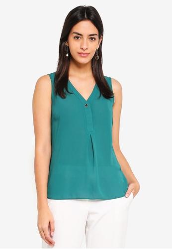 Dorothy Perkins green Green Button Sleeveless Top CAB81AAE4714CBGS_1