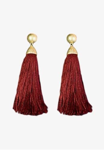 Zaryluq red Long Tassel Earrings in Merlot AA49DAC5D55B4CGS_1