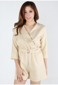 Chic Long Sleeve Belted Romper