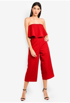 95fc8d40209 MISSGUIDED red Crepe Double Layer Culotte Jumpsuit 13A50AA630B09FGS 1