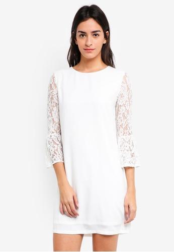 ZALORA white Flare Lace Sleeves Dress 58E78AA2510C69GS_1