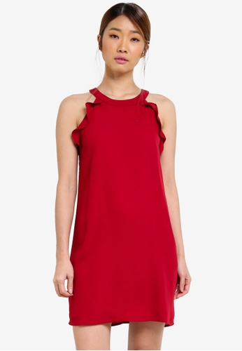 Something Borrowed red Cut In Swing Dress With Ruffles 8D179AAACC3A6AGS_1