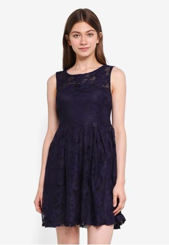 Mela London navy Floral Embossed Dress D9685AA26544BEGS_1