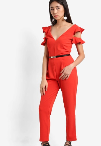Miss Selfridge red Frill Cold Shoulder Jumpsuit MI665AA69BFEMY_1