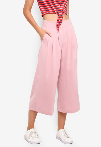 TOPSHOP pink Petite Pleat Crop Wide Trousers 93BCDAABFE31C2GS_1