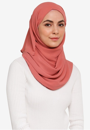 Hijabii orange Anya Textured Chiffon Scarf in Dark Peach 6279AAA3A7D94CGS_1
