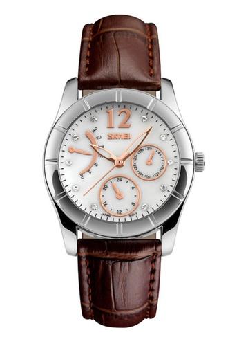 Skmei brown SKMEI 6911 Ladies's Fashion Elegant Quartz Leather Strap Watch (Brown) SK707AC0RXDLMY_1