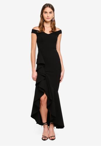 Goddiva 黑色 Off The Shoulder 360 Frill Maxi Dress 42877AAE045FCCGS_1