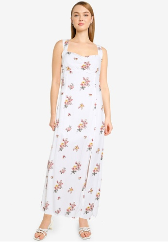 Dorothy Perkins white Yellow And Blue Floral Printed Crinkle Midi Dress BDF0FAAD72508BGS_1