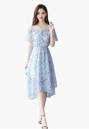 0742559ce09 Halo blue (2 Way) Floral Print Off Shoulder Dress A0221AA0028E43GS 1