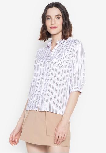 BNY multi Ladies Vertical Stripes Three Fourth Sleeves Shirt AB038AA857683CGS_1
