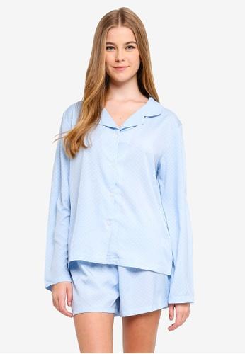 MISSGUIDED blue Long Sleeve Short Pj Set Polka Dot 3F8C9AAFFFEB09GS_1
