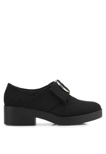 Something Borrowed black Felt Buckle Loafers 9B871SH77C5639GS_1