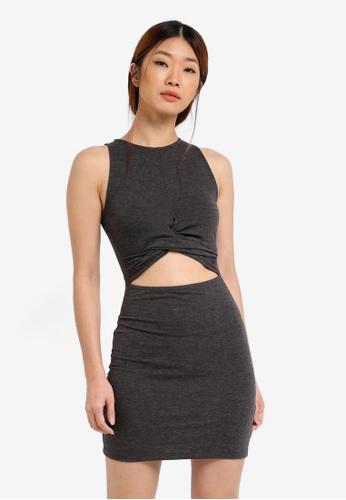 Something Borrowed grey TWIST DETAIL BODYCON DRESS A24BBZZF37221DGS_1