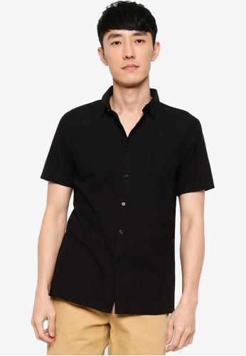 ZALORA BASICS black Stand Collar S/S Shirt BADD5AAF672FBDGS_1
