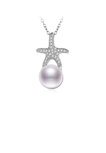 Glamorousky white 925 Sterling Silver Starfish Pendant with Freshwater Pearls and Necklace 392D2AC7A2783FGS_1