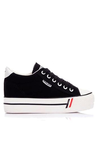 Twenty Eight Shoes 黑色 帆布內增高厚底休閒鞋 VC8502 3F0FFSH0643AEBGS_1