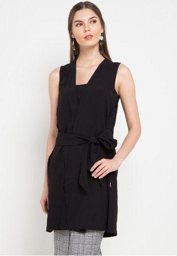 Exit black Dea Long Outer With Belt 104BAAA95220BBGS_1