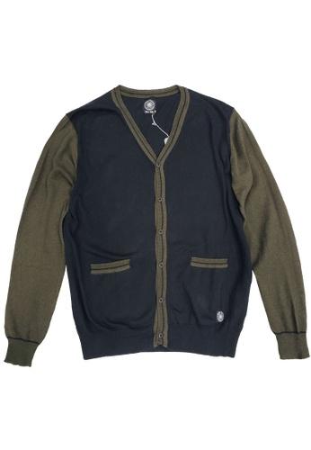 East Pole green Men's V-neck Cotton Cashmere Contrasting Cardigan E9A42AA71B7C04GS_1