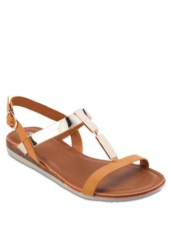 撞zalora taiwan 時尚購物網鞋子色繫帶平底涼鞋, 女鞋, 鞋
