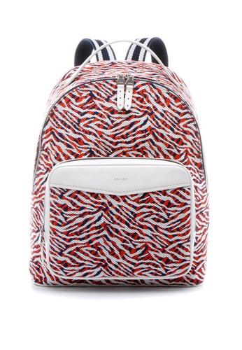 Enjoybag Italian Leather Trim Jacquard Large Backpack EN763AC32VVFHK_1