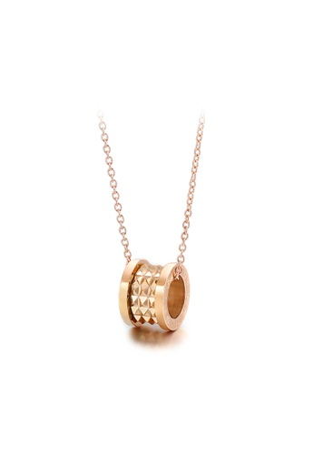 Glamorousky silver Simple and Fashion Plated Rose Gold 316L Stainless Steel Roman Numeral Cylindrical Pendant with Necklace DF716AC55C7649GS_1