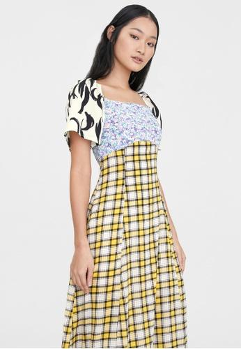 Pomelo yellow Midi Mixed Prints Dress - Yellow 72974AA486BB09GS_1