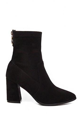Twenty Eight Shoes black Suede Leather Mid-Cut High Heels Boots VB8095 384A0SHFA89E27GS_1