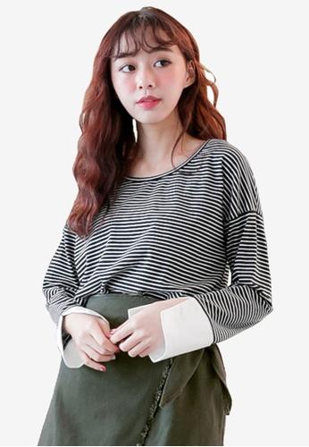 Tokichoi black Stripe Printed Pullover 13DD1AA89599E5GS_1