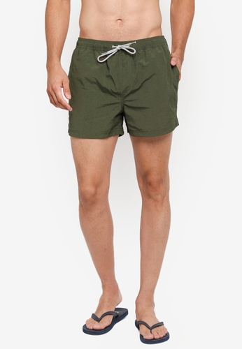 Burton Menswear London green Khaki Regular Pull On Swim Shorts 5005CUS33740C4GS_1