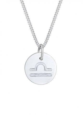 Elli Germany silver Perhiasan Wanita Perak Asli - Silver Kalung Frosted Star Sign Libra Astro Basic 6CD11ACC6FE9D5GS_1