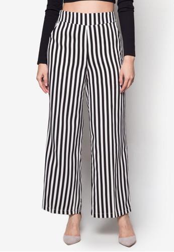 直zalora 折扣碼條紋寬管長褲, 服飾, 服飾