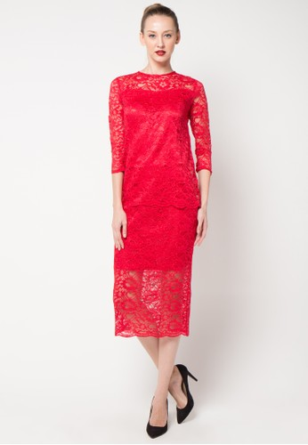 Chanira red Delanie Lace Set CH930AA24ZQLID_1