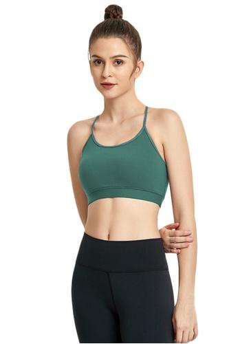 B-Code green ZWG7019Lady Quick Drying Running Fitness Yoga Sports Bra -Green D981AUSCFDE370GS_1
