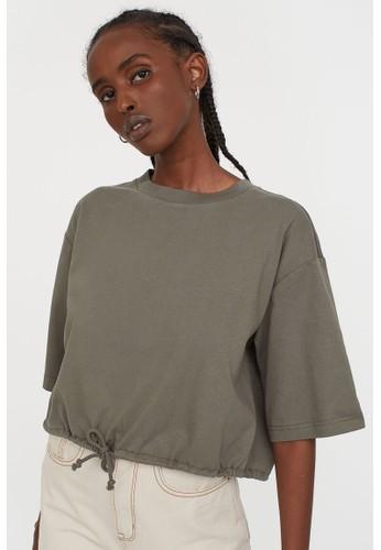 H&M green Drawstring T-shirt 77EBEAA6A4859AGS_1