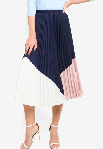 ZALORA WORK multi Color Block Pleated Skirt 6D773AA0D21F79GS_1