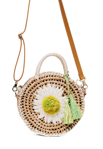 Style Cat white and brown Santhiya Handmade Woven Daisy Sling B400DAC9EA2938GS_1