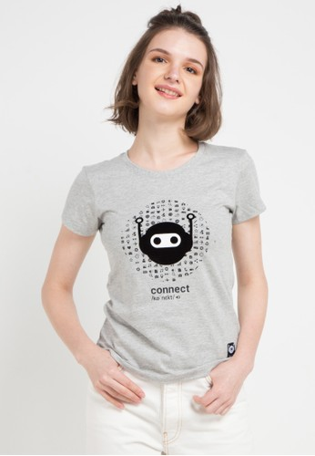 Giordano grey Connect Message T-Shirt 5CE0DAA75E3B47GS_1