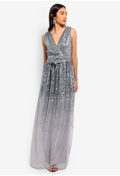 83d868ee88a99 41% OFF Goddiva Sequin And Chiffon Wrap Maxi Dress HK  869.00 NOW HK   515.90 Sizes 8 10 12