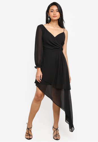 Preen & Proper black Asymmetrical Dress 3FC5EAADE3A638GS_1