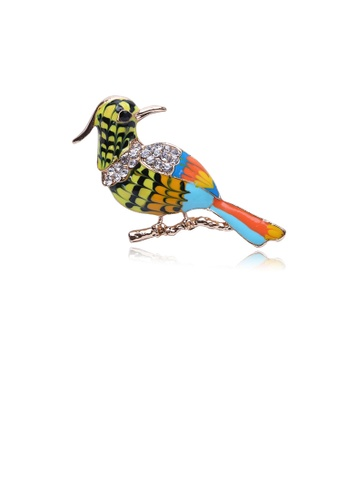 Glamorousky white Fashion and Elegant Plated Gold Colorful Bird Brooch with Cubic Zirconia 28AF4ACE3FA335GS_1