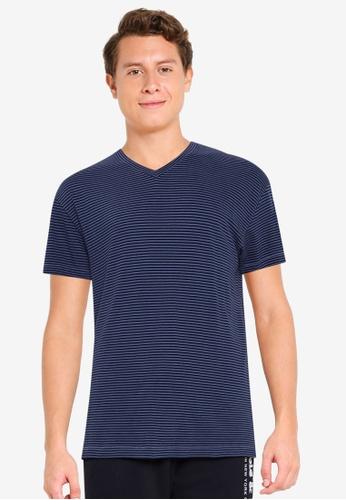 Abercrombie & Fitch navy Essential Vee T-Shirt 430DDAAD1DB0B6GS_1