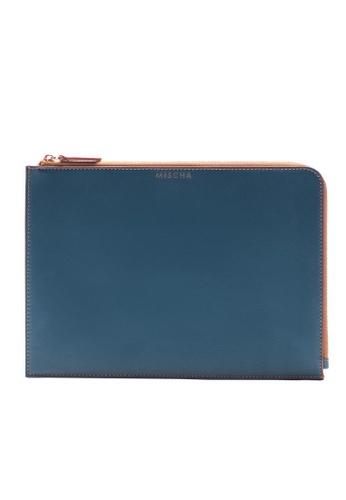 MISCHA blue MISCHA Leather Folio Pouch - Fern C6BBFAC6AD31BAGS_1