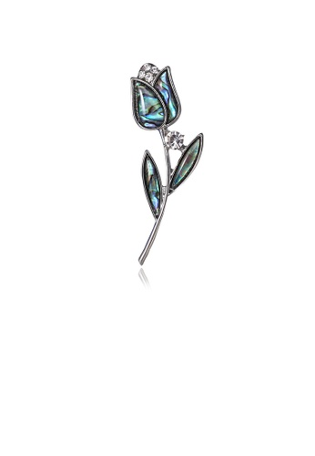 Glamorousky white Fashion and Elegant Blue Rose Shell Brooch with Cubic Zirconia 5CA56ACB5648EDGS_1